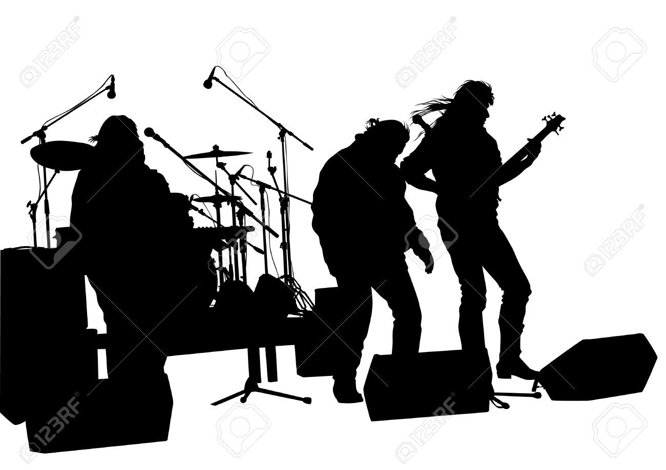1300x919 Concert Of Rock Band On A White Background Royalty Free Cliparts