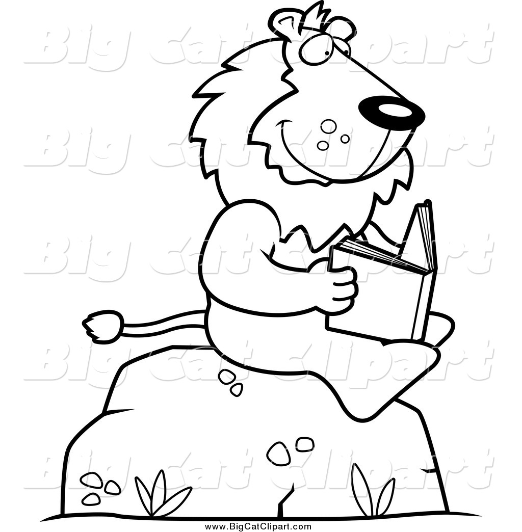 1024x1044 Big Cat Cartoon Vector Clipart Of Blacknd White Lion Reading