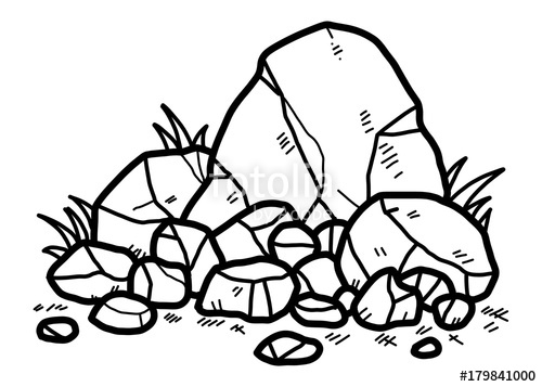 500x357 Rocks Cartoon Vector And Illustration, Black And White, Hand