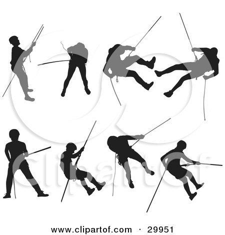 450x470 Clipart Illustration Of A Series Of Silhouetted Rock Climbers
