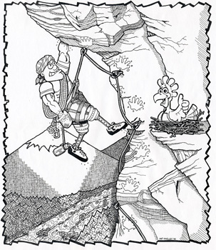 303x350 Physically Challenged Cartoon Rock Climbing Copyright