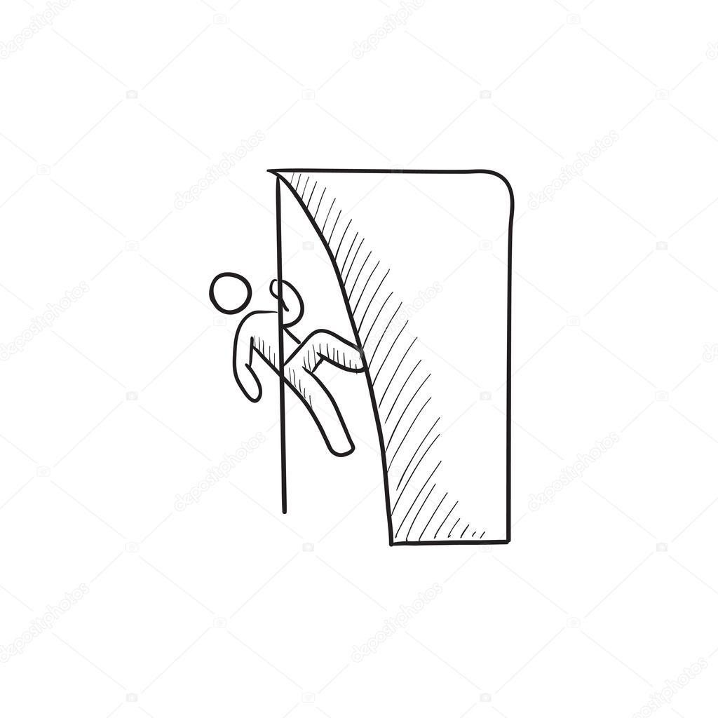 1024x1024 Rock Climber Sketch Icon. Stock Vector Rastudio