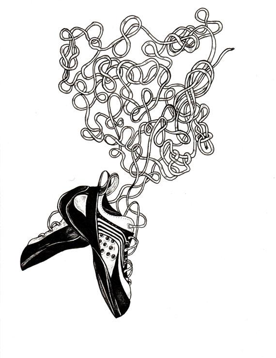 570x738 Beta Dance Rock Climbing Shoes Drawing Print