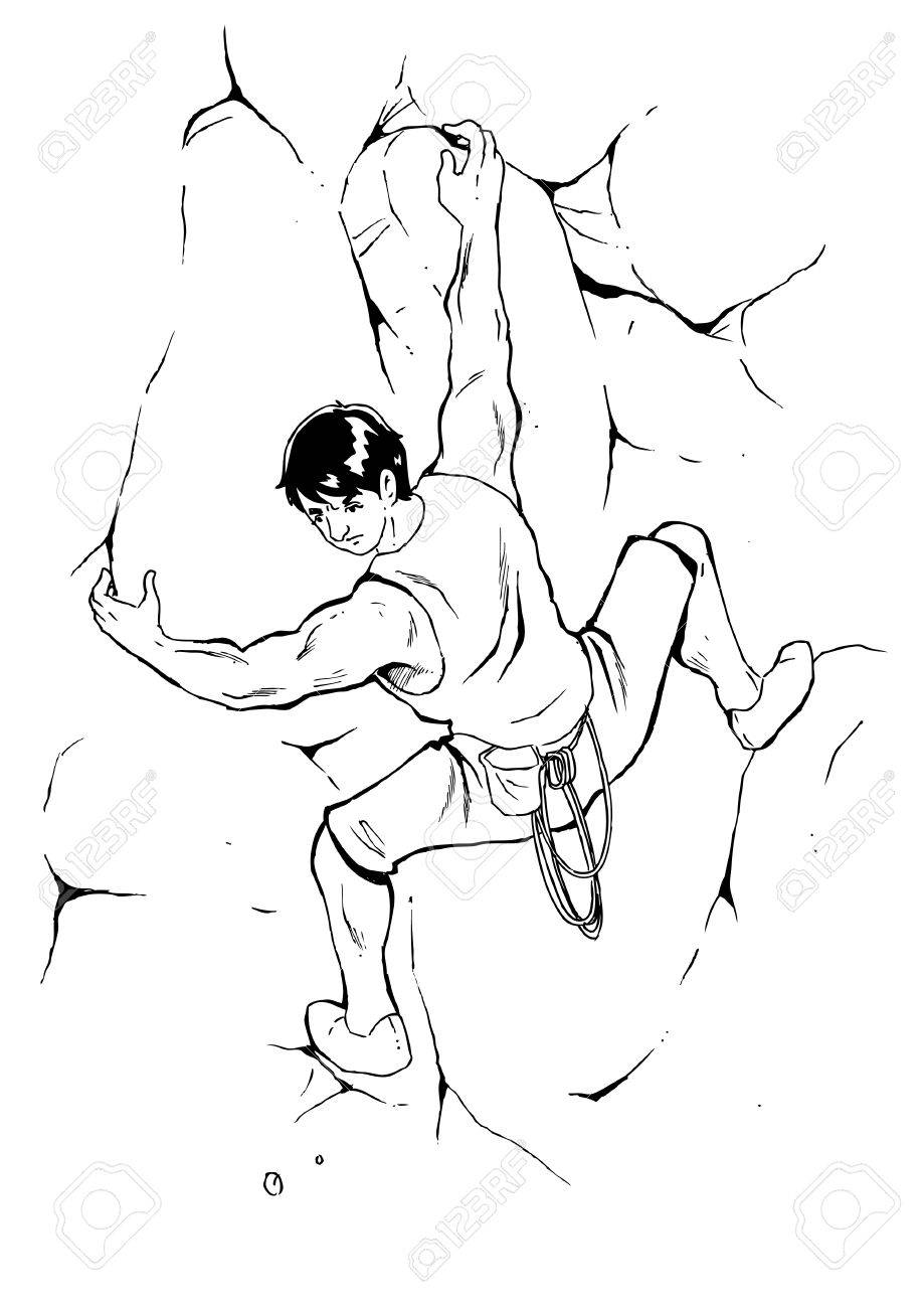 919x1300 Sketch Illustration Of A Man Climbing The Rock Royalty Free