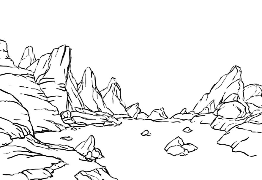 882x606 Shape And Outline Of Rocksoulders How To Draw Realistic Trees