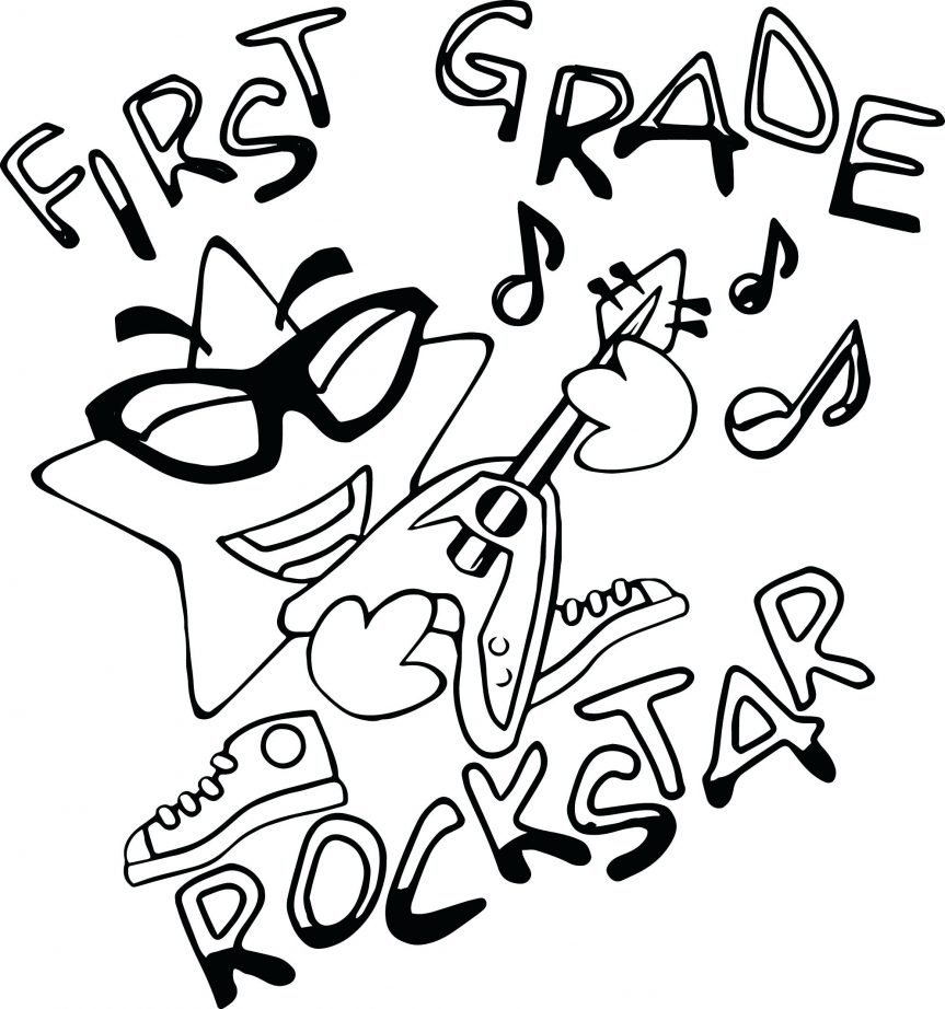863x922 First Grade Rock Star Coloring Page Best Of Pages Free N Roll