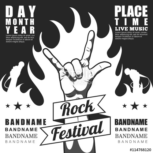 500x500 Black White Rock Festival Poster, With Rock N Roll Sign