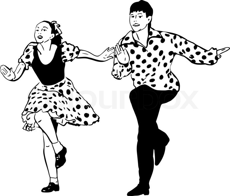 800x679 Black And White Vector Sketch Of A Guy With A Girl Dancing Rock