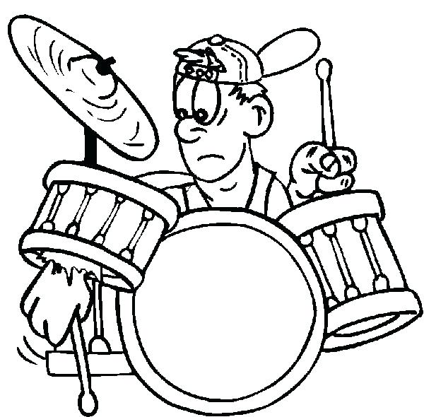 600x590 Drums Coloring Page Rock And Roll Drummer Boy Broke His Drum Kit