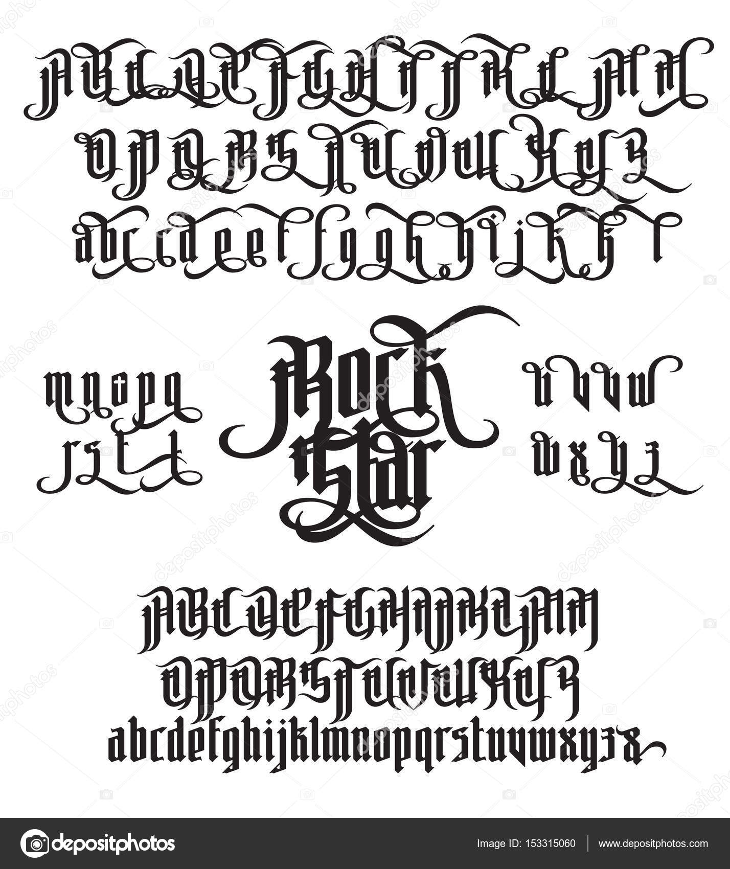 1428x1700 Rock Star Gothic Font Stock Vector Nrey Ad