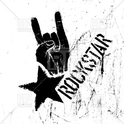 400x400 Rockstar Symbol With Sign Of The Horns Hand Gesture On Scratched