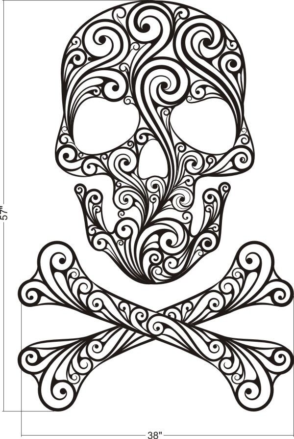 600x894 Sugar Skull, Skull Wall Decal, Skull Crossbones Wall Decal