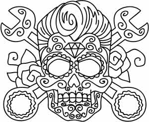 300x247 Rockabilly Skull Urban Threads Unique And Awesome Embroidery