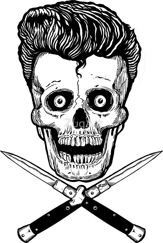 538x800 Rockabilly Skull And Switchblades Stickers By Zugart Redbubble