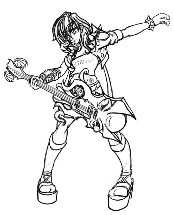 723x896 Nerd Rocker Girl Sketch By Flowen