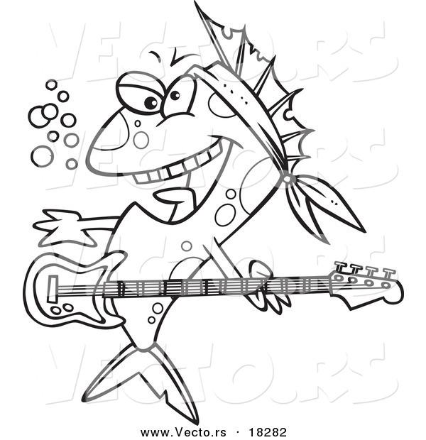 600x620 Vector Of A Cartoon Rocker Fish