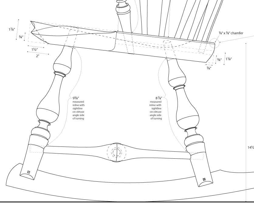 836x668 Full Scale Drawings How To Make A Continuous Arm Rocker