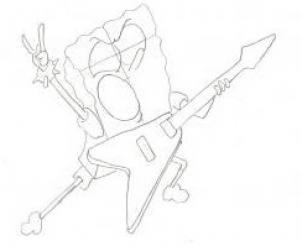 302x246 How To Draw How To Draw Spongebob Rocker