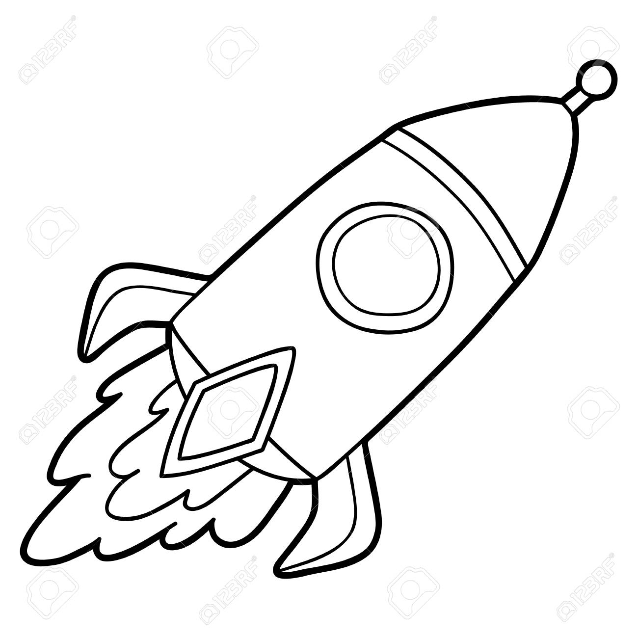 1300x1300 Cute Cartoon Rocket For Children, Coloring Page. Royalty Free