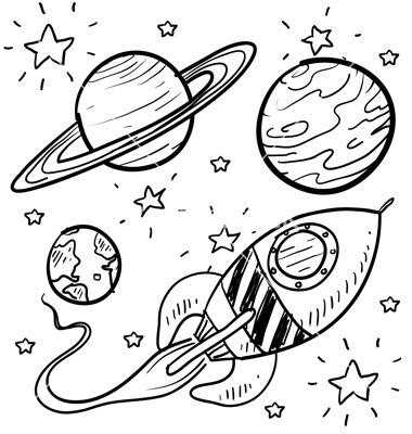 380x400 Doodle Space Planets Rocket Ship Stars Explore Vector 1112511