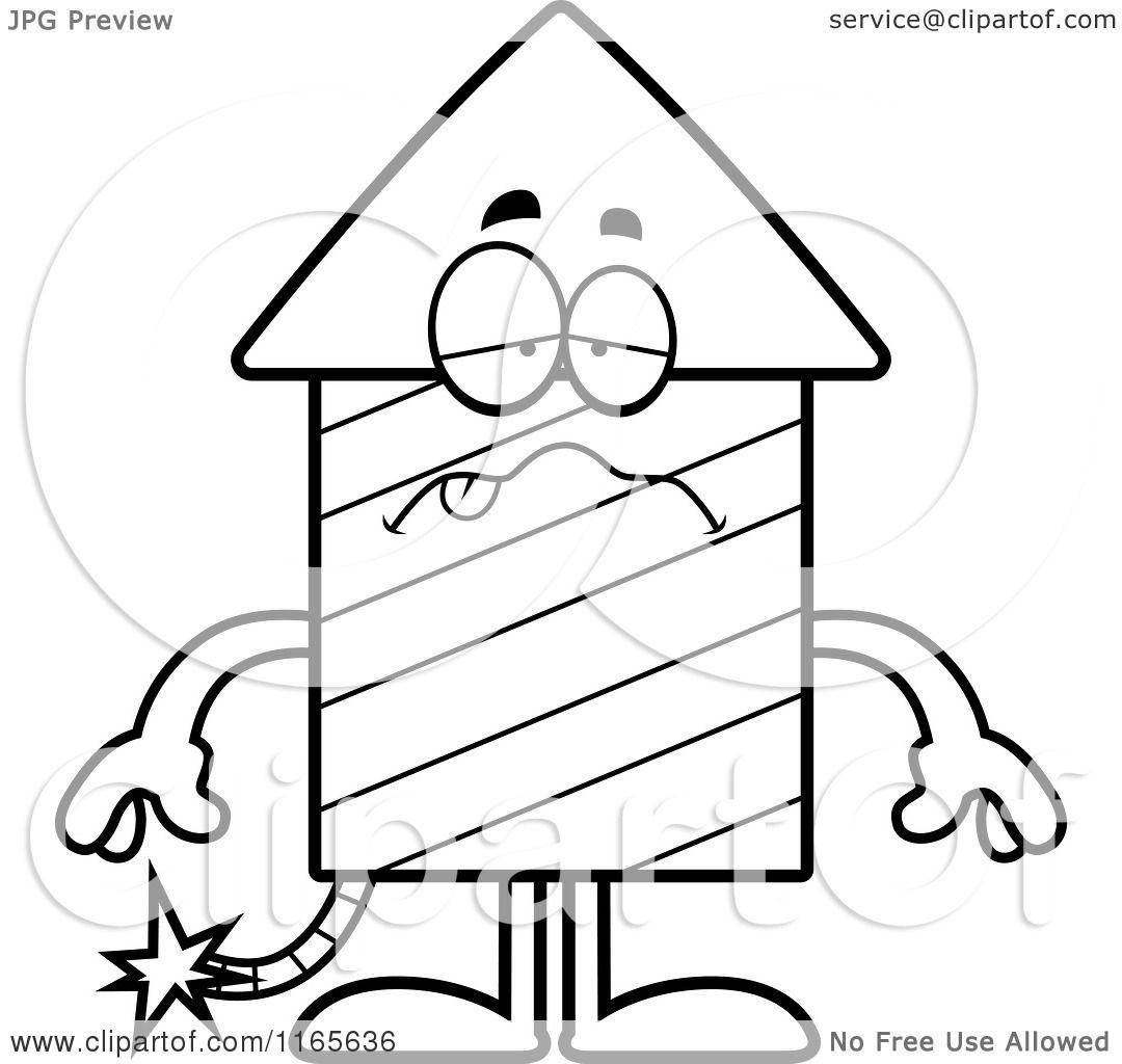 1080x1024 Cartoon Clipart Of A Sick Rocket Firework Mascot