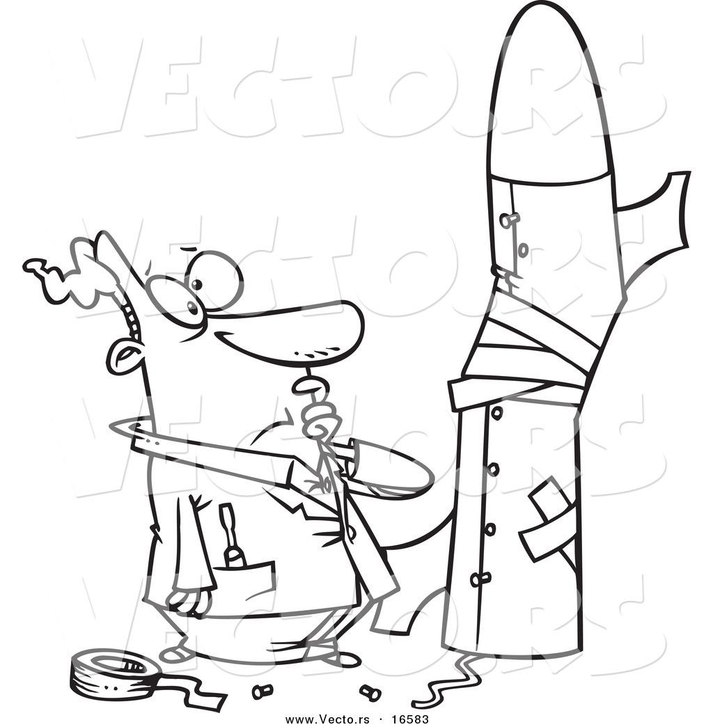 1024x1044 Vector Of A Cartoon Man Building A Bad Rocket