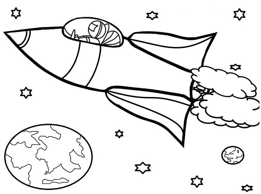 840x626 Rocket Ship Coloring Page Simple Drawing Board Weekly