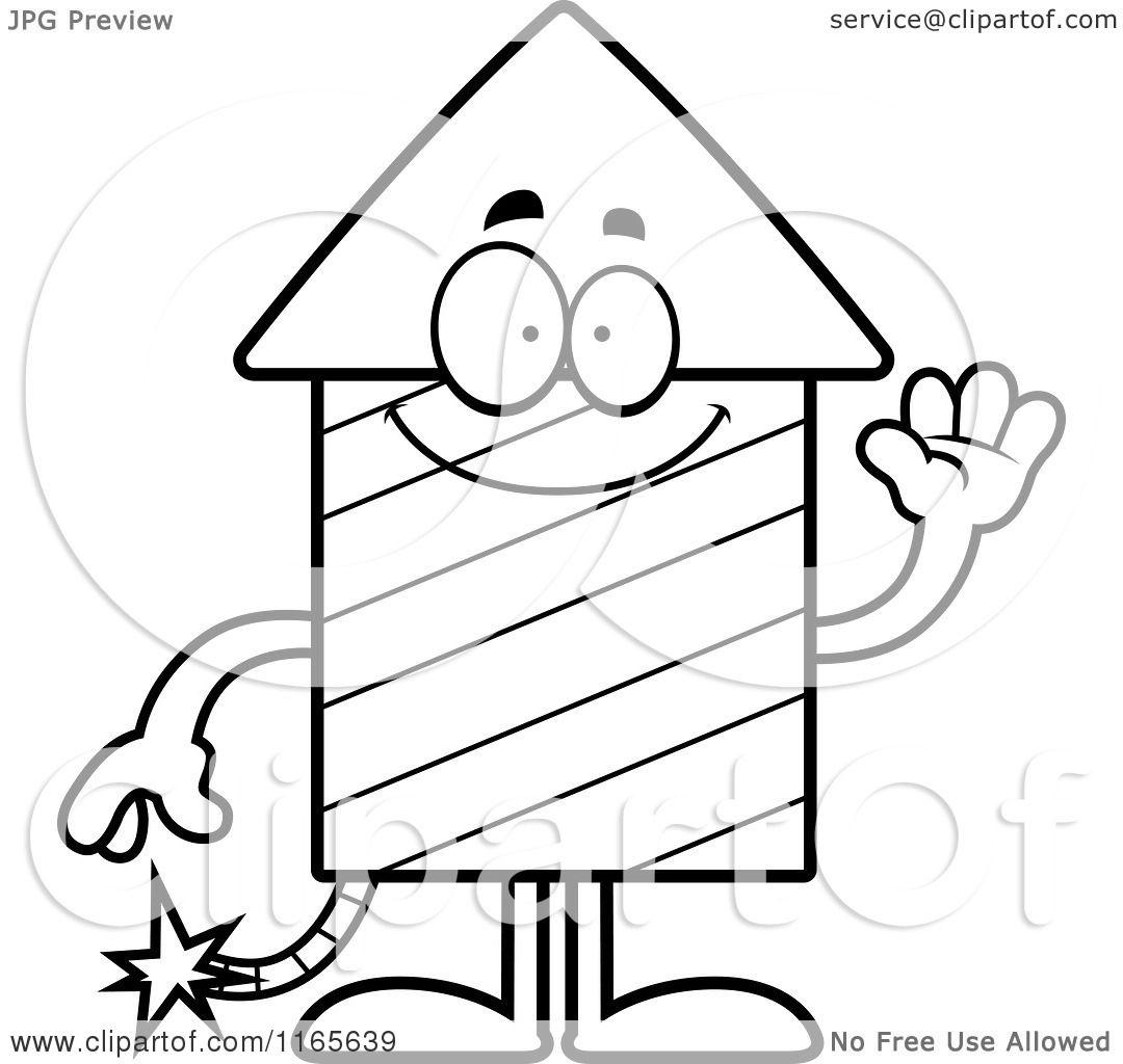 1080x1024 Cartoon Clipart Of A Waving Rocket Firework Mascot