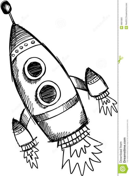 500x677 Rocket Ship Drawing
