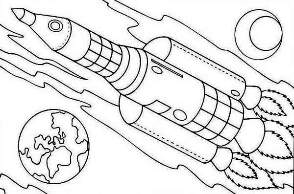 600x397 Rocket Ship On Earth Orbit Coloring Page