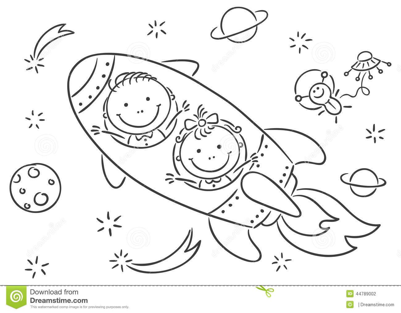 1300x1014 Space Drawing For Kids Children Drawing Space Planet Rocket Stock