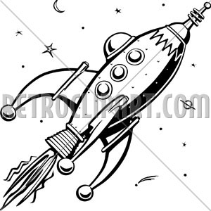 300x300 Retro Rocketship, Rockets Retro