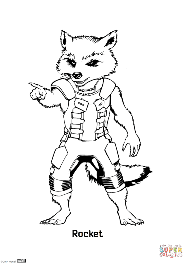 632x883 Rocket Raccoon From Guardians Of The Galaxy Coloring Page Free