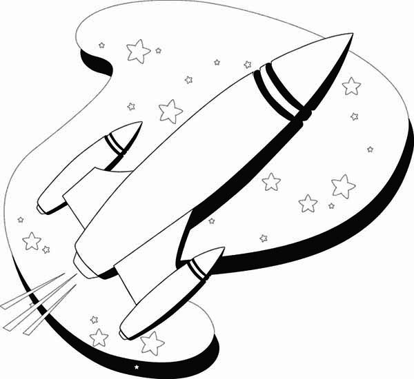 600x550 Line Art Of Rocket Ship Coloring Page