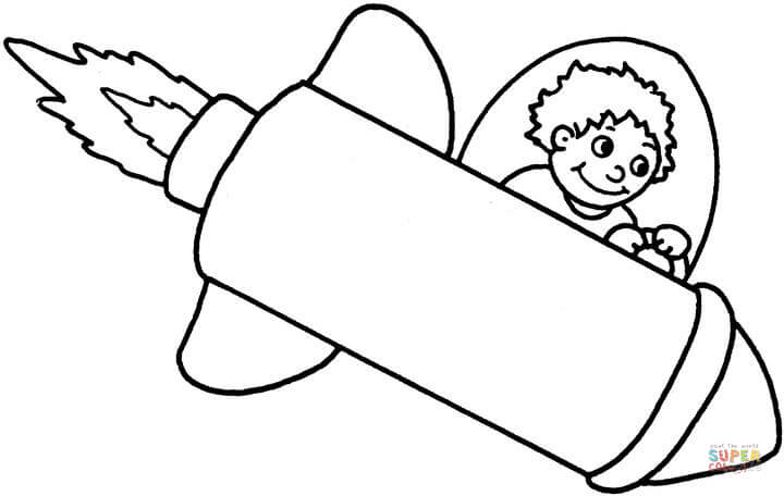 720x456 Boy Flying A Space Rocket Coloring Page Free Printable Coloring