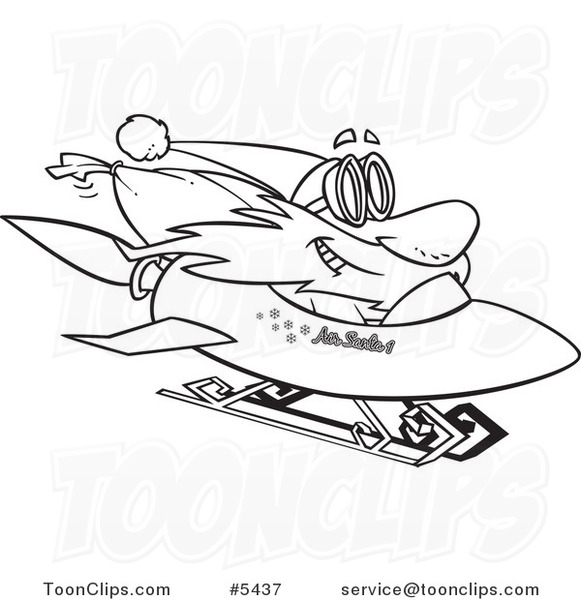 581x600 Cartoon Black And White Line Drawing Of Santa On A Rocket Sled