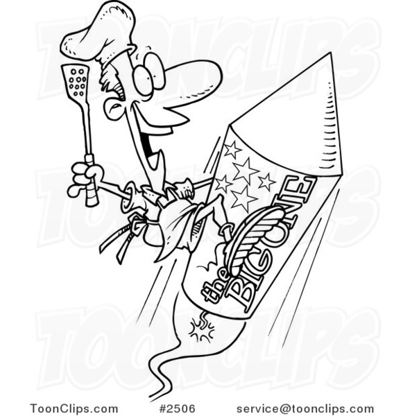 581x600 Cartoon Black And White Line Drawing Of A Cook On A Fourth Of July