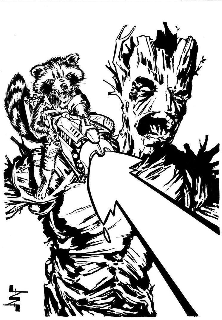 744x1074 Groot And Rocket Raccoon By Albertonavajo