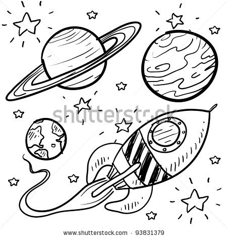 450x470 Doodle Style Science Fiction Set Sketch In Vector Format. Set