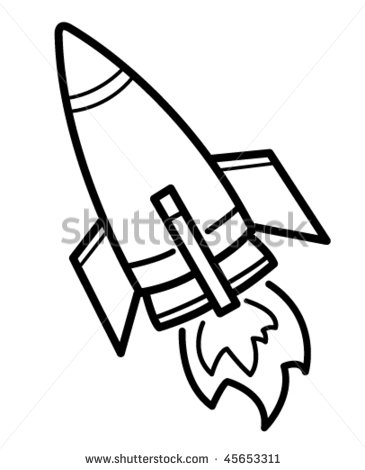 365x470 Rocket Drawing Black And White