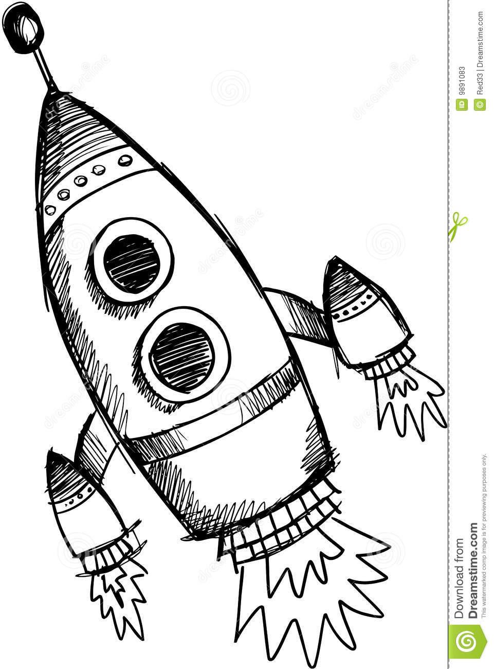 961x1300 Drawn Rocket Vector