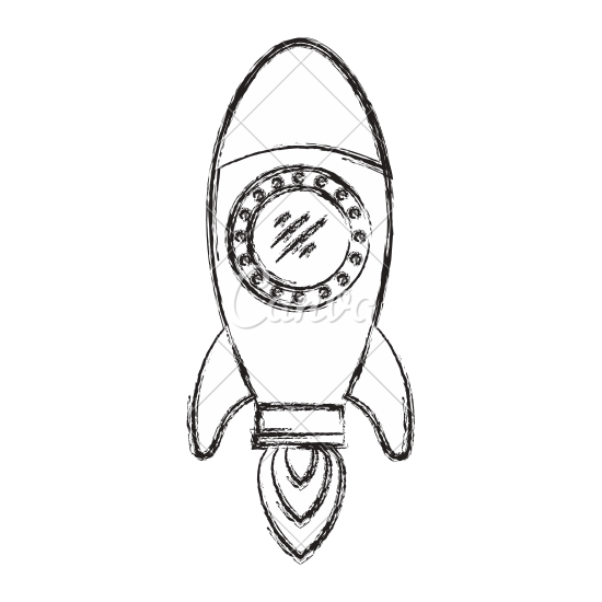 550x550 Hand Drawn Rocket Ship Cartoon