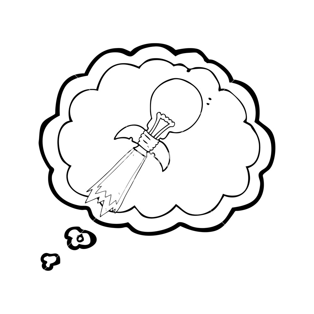 1000x1000 Freehand Drawn Thought Bubble Cartoon Lightbulb Rocket Ship