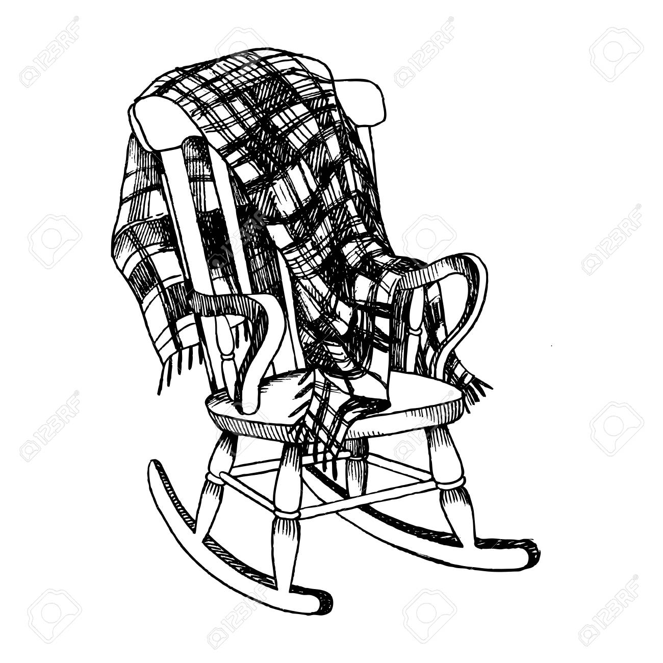 1300x1300 Rocking Chair And Plaid Blanket Engraving Vector Illustration