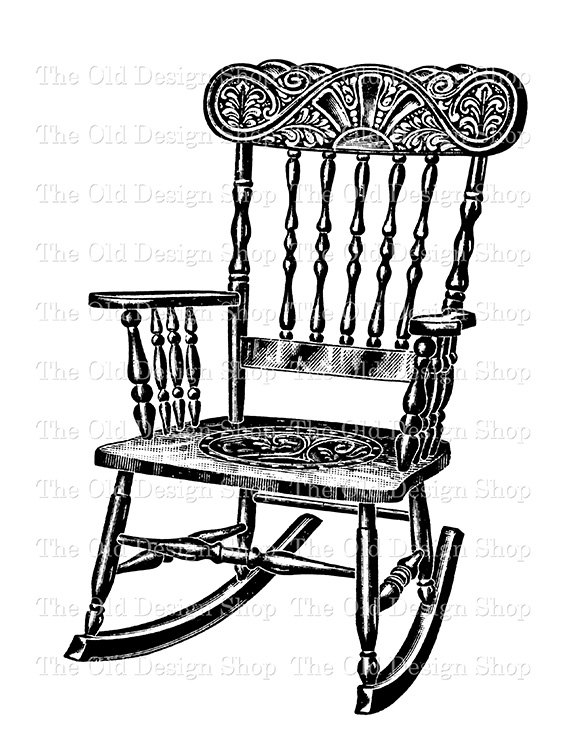 570x738 Antique Rocking Chair Digital Download Printable Clip Art