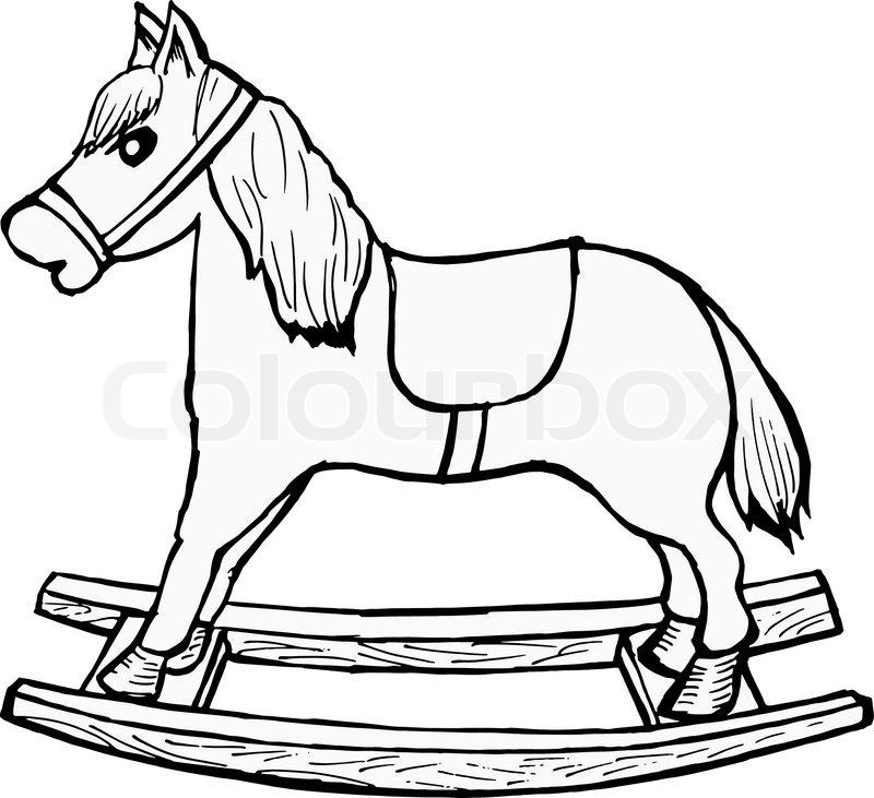 800x731 Hand Drawn, Cartoon, Vector Illustration Of Rocking Horse Stock