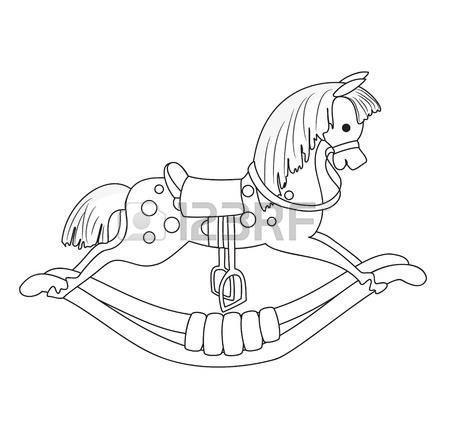 450x443 Outlined Rocking Horse Vector Royalty Free Cliparts, Vectors,