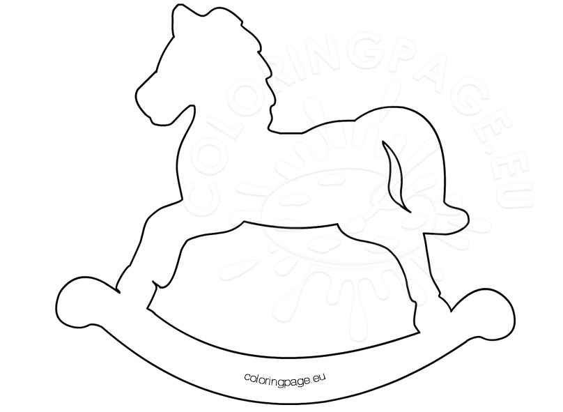 808x591 Printable Rocking Horse Template Coloring Page