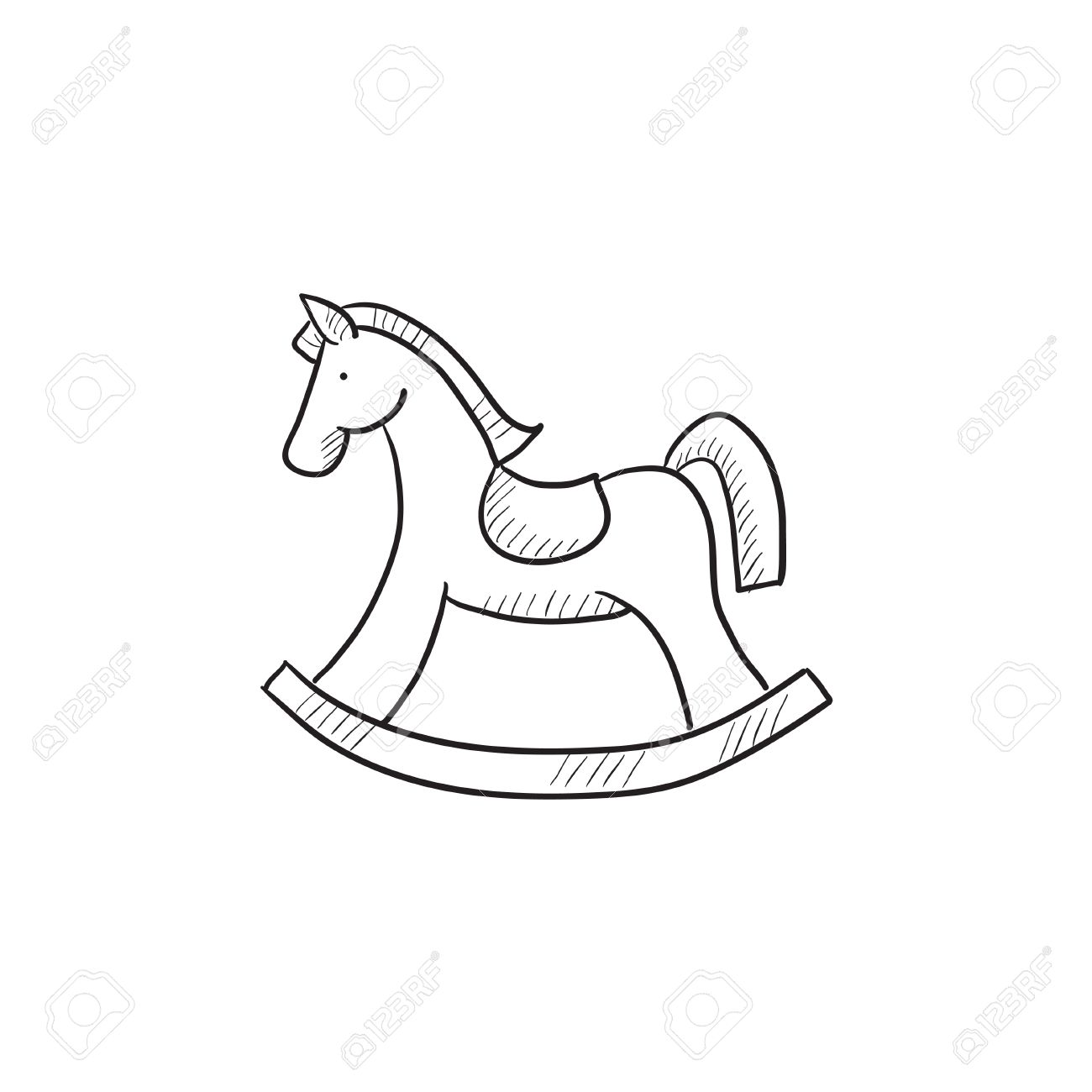 1300x1300 Rocking Horse Vector Sketch Icon Isolated On Background. Hand
