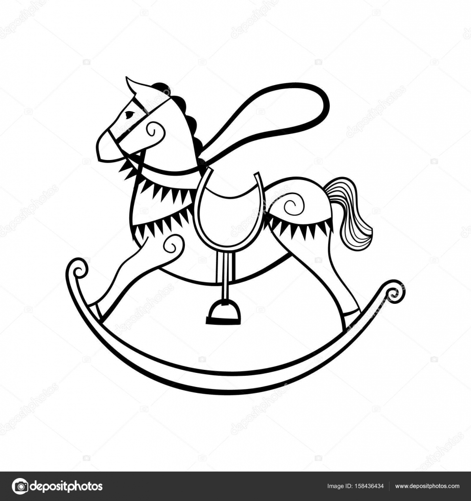 963x1024 Rocking Horse Black And White Stock Vector Greeek